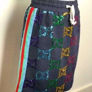 NWT Gucci Technical jersey skirt with GG sequins